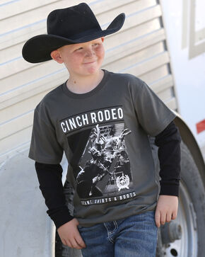 Cinch Boys' Grey Rodeo T-Shirt , Grey, hi-res