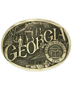 Montana Silversmiths Georgia State Heritage Attitude Belt Buckle, Gold, hi-res