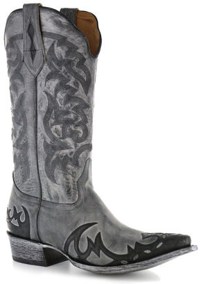 Moonshine Spirit Men's Distressed Grey Cowboy Boots - Snip Toe, Black, hi-res