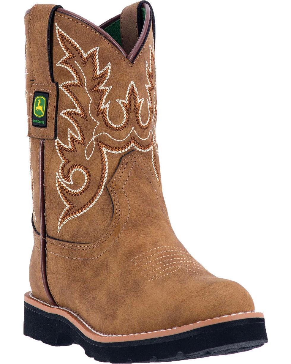 John Deere Boys' Steel Shank Western Boots - Round Toe , Russett, hi-res