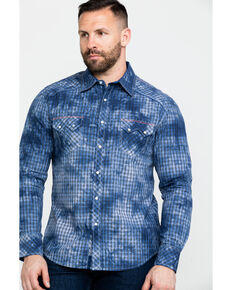 Rock & Roll Denim Men's Spray Washed Satin Plaid Long Sleeve Western Shirt , Blue, hi-res