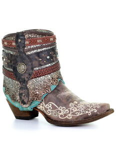 Corral Women's Crater Decorated Embroidered Flipped Shaft Fashion Booties - Snip Toe, Brown, hi-res