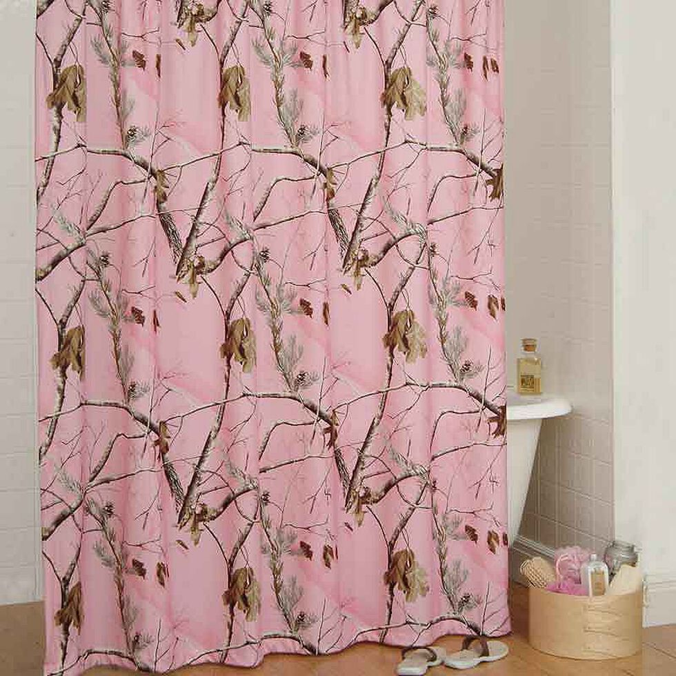 Realtree All Purpose Pink Camo Shower Curtain, Pink, hi-res