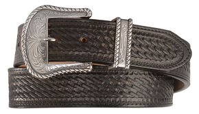 Justin Bronco Basketweave Leather Belt, Black, hi-res