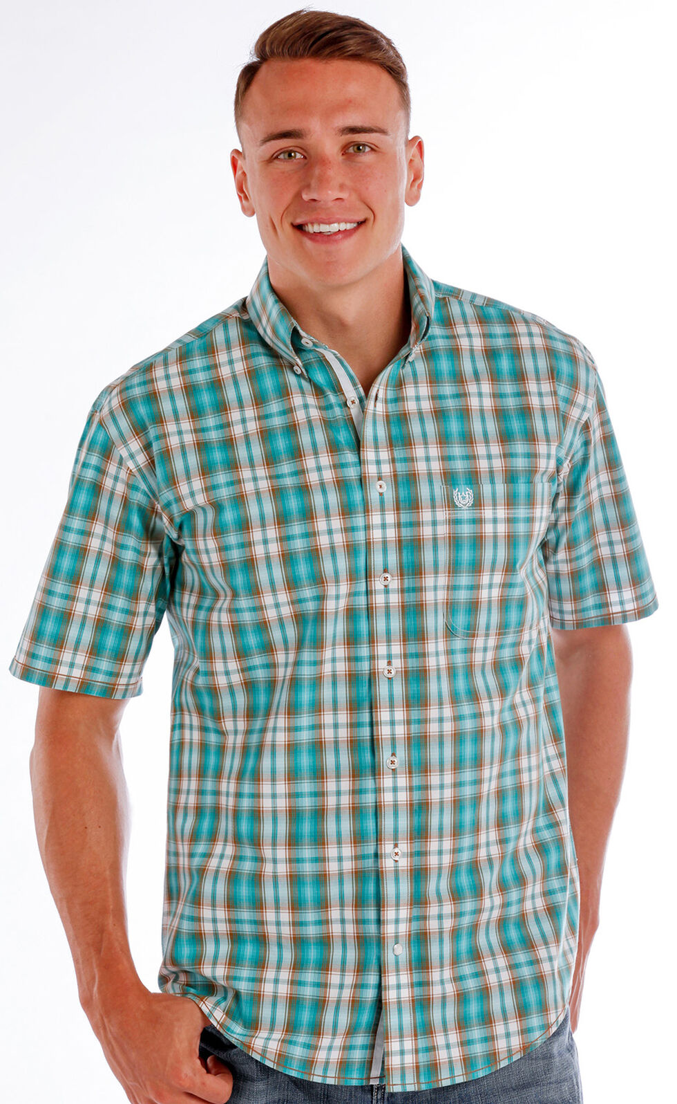 Rough Stock by Panhandle Men's Evanston Ombre Plaid Shirt - Big, Blue, hi-res
