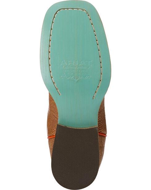 Ariat Girls' Gringa Lizard Print Oil Cloth Western Boots - Square Toe , Natural, hi-res
