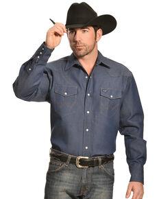 Wrangler Men's Indigo Denim Long Sleeve Work Shirt - Tall, Indigo, hi-res
