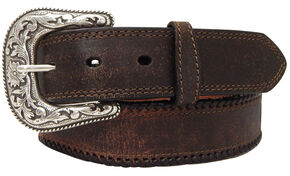 G Bar D Men's Brown Brown Leather Belt, Brown, hi-res
