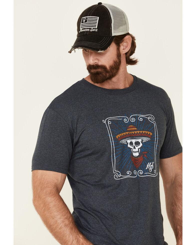 Moonshine Spirit Men's Framed Skull Graphic T-Shirt , Navy, hi-res