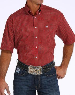 Cinch Men's Red Print Short Sleeve Button Down Shirt, Red, hi-res