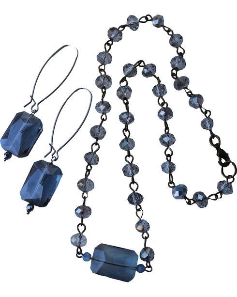 2 Queen B's Women's Smokey Eyes Silver Smokey Crystal Jewelry Set, Blue, hi-res