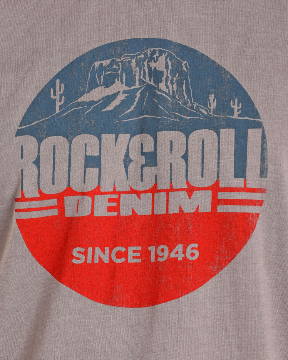 Rock & Roll Cowboy Men's Desert Scene Logo T-Shirt, Grey, hi-res