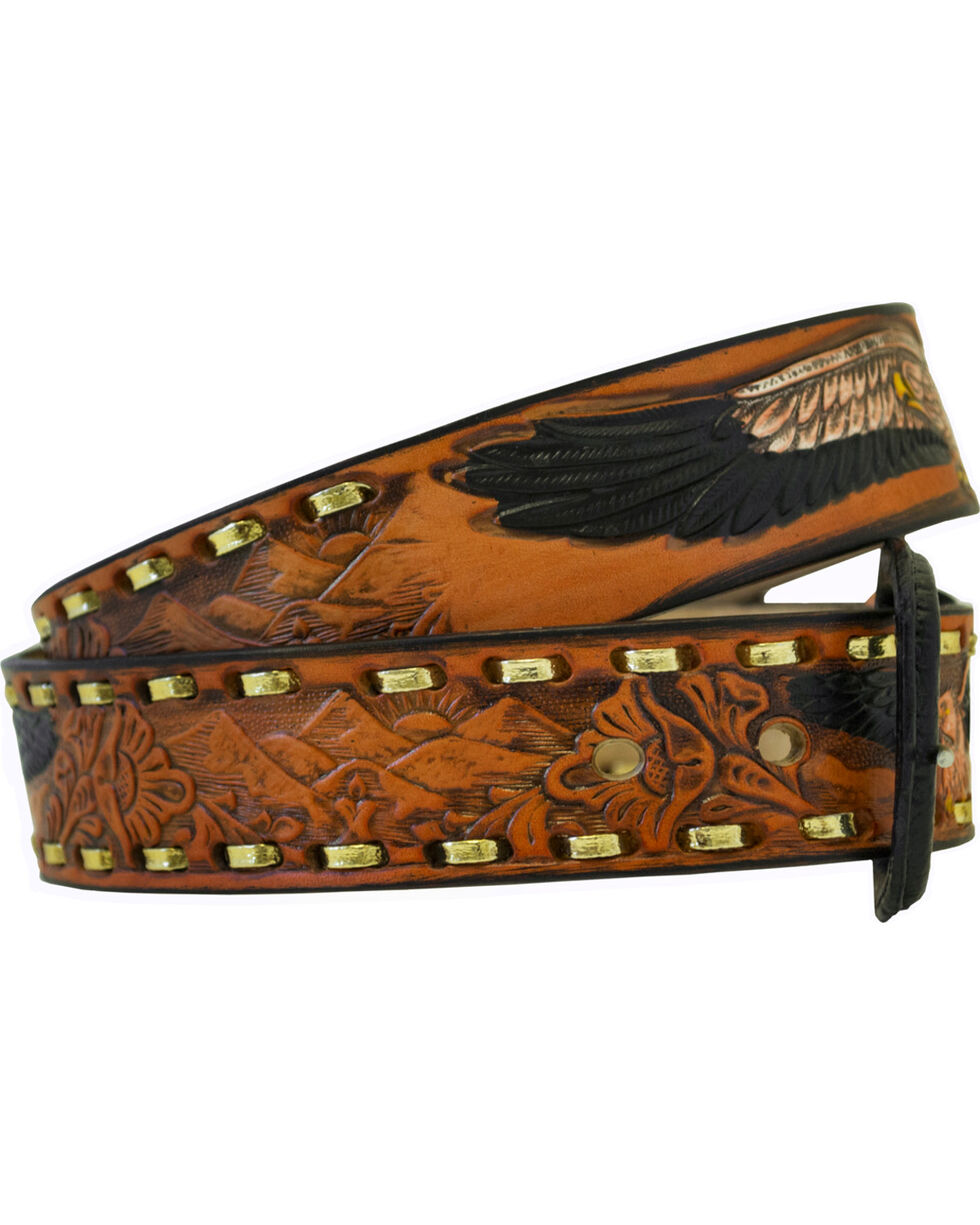 Western Express Men's Brown Leather Eagle Belt , Brown, hi-res