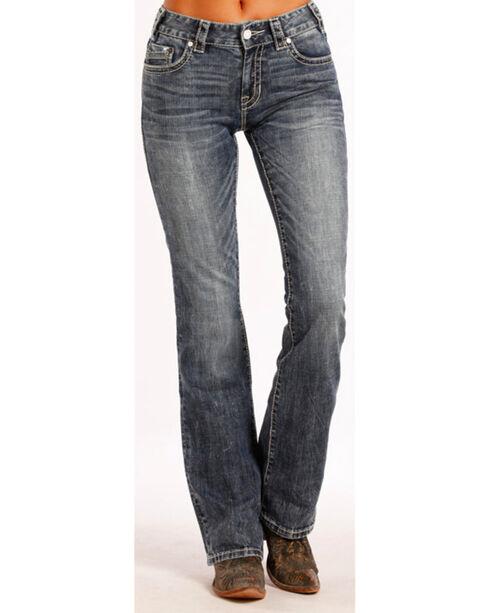 Rock & Roll Cowgirl Women's Indigo Mid-Rise Jeans - Boot Cut , Indigo, hi-res