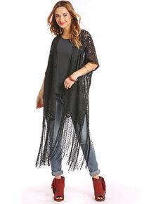 54e3670ec4c7f Panhandle Women s Black Lace Fringe Kimono Duster