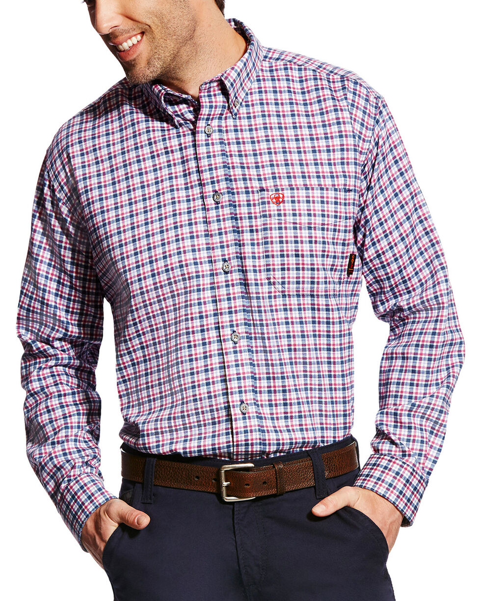 Ariat Men's FR Mercer Long Sleeve Plaid Work Shirt - Big & Tall, Multi, hi-res