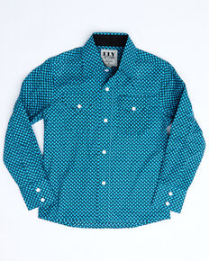 Ely Walker Boys' Turquoise Mini Geo Print Long Sleeve Western Shirt , Turquoise, hi-res