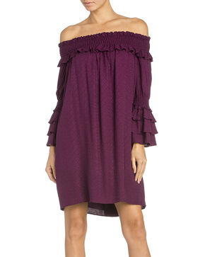 Miss Me Women's Off Shoulder Ruffle Sleeve Dress, Grape, hi-res