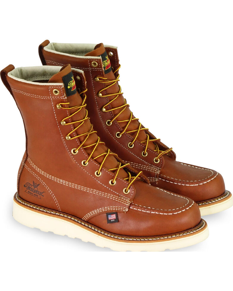 """Thorogood Men's 8"""" American Heritage Wedge Sole Work Boots - Soft Toe, Brown, hi-res"""