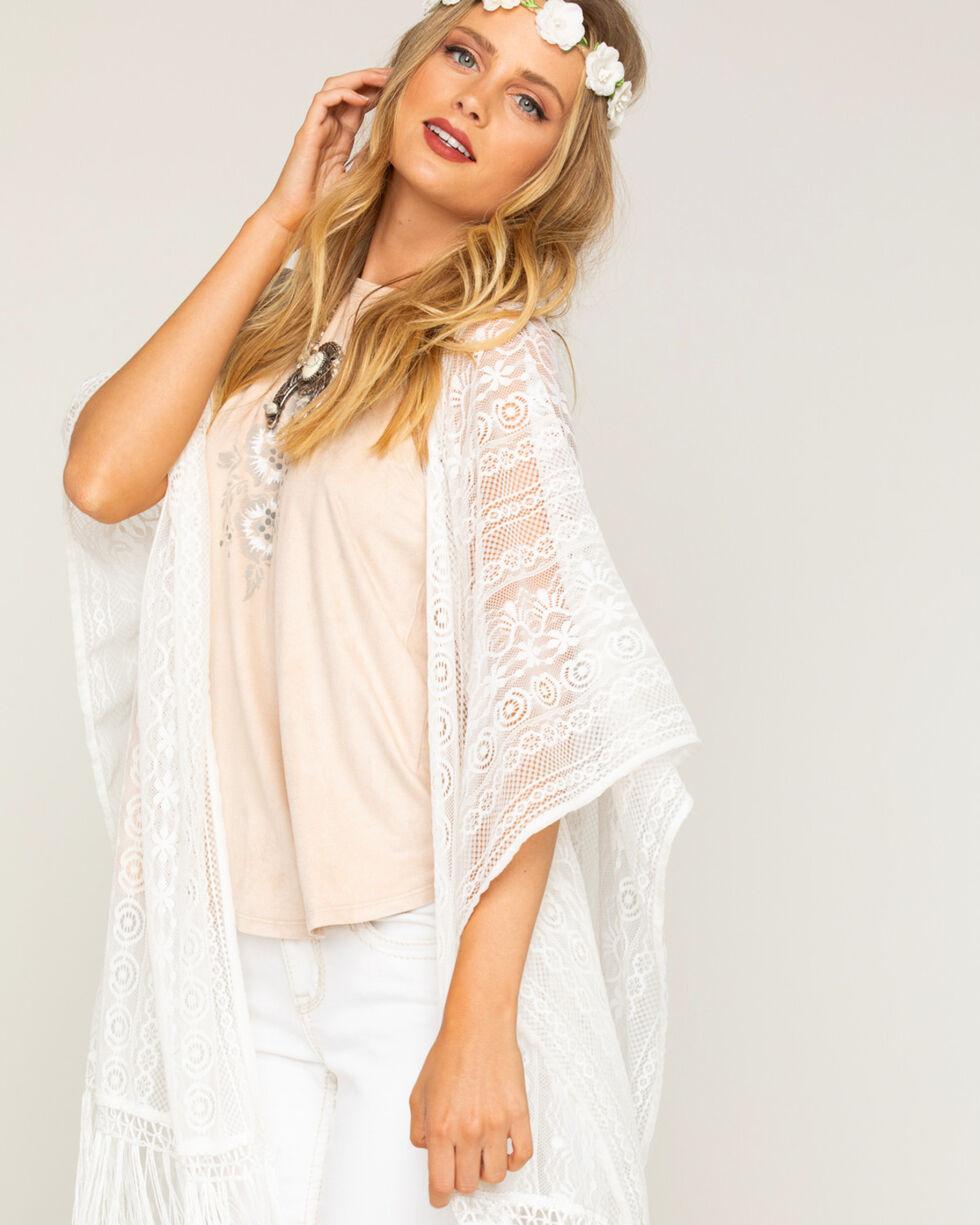 Shyanne Women's Lace Fringe Kimono Scarf, , hi-res