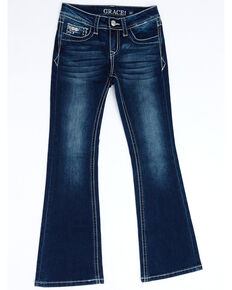 Grace In LA Girls' Dark Border Faux Flap Pocket Bootcut Jeans, Blue, hi-res