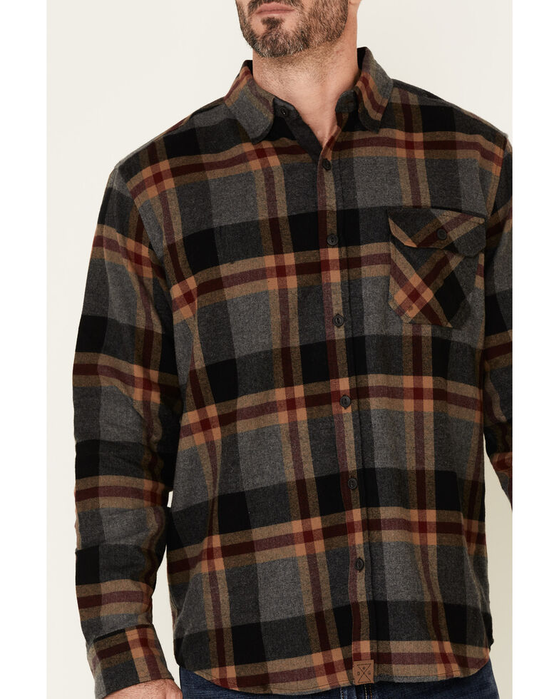 Dakota Grizzly Men's Brock Large Plaid Long Sleeve Western Flannel Shirt , Charcoal, hi-res