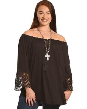 Eyeshadow Women's Black Lace Trim Bell Sleeve Peasant Blouse - Plus , Black, hi-res