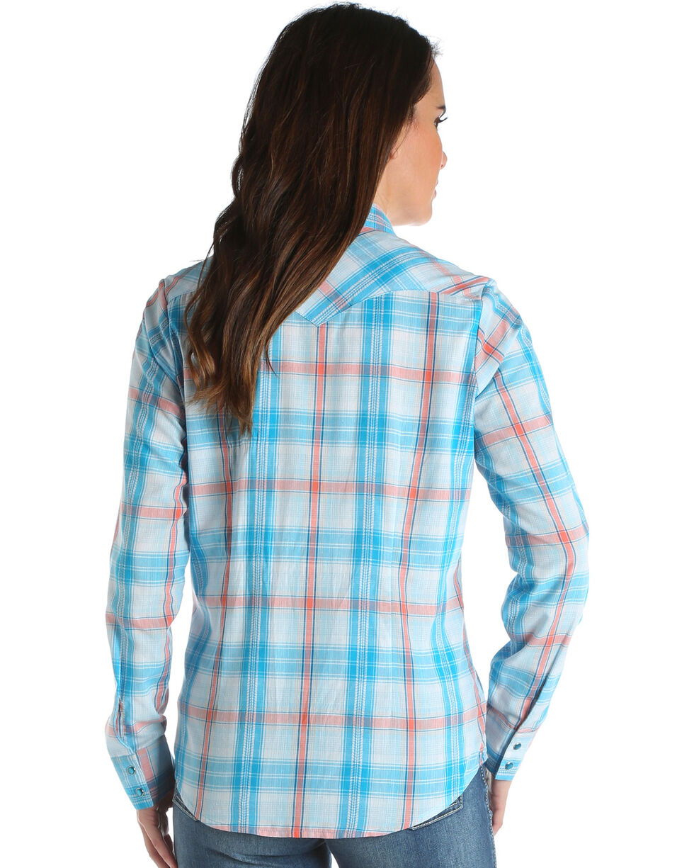 Wrangler Women's Turquoise Long Sleeve Plaid Shirt , Turquoise, hi-res