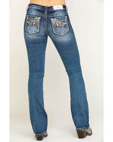 Miss Me Women's Medium Mixed Feather Bootcut Jeans, Blue, hi-res