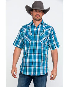 b9be52bddef Ely Cattleman Mens Blue Sawtooth Textured Plaid Short Sleeve Western Shirt