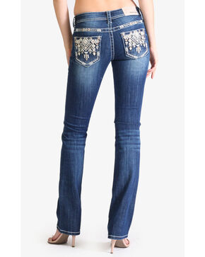 Grace In LA Women's Diamond Medallion Pocket Boot Jeans , Indigo, hi-res