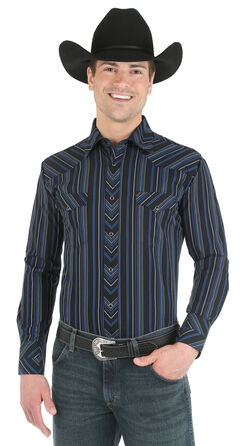 Wrangler Silver Edition Blue and Black Dobby Stripe Western Shirt, Blue, hi-res