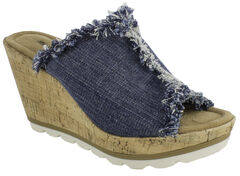 Minnetonka Women's York Wedge Sandals, Blue, hi-res