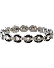 Sabona Ladies' Crystal Horseshoe Link Magnetic Bracelet, Two Tone, hi-res