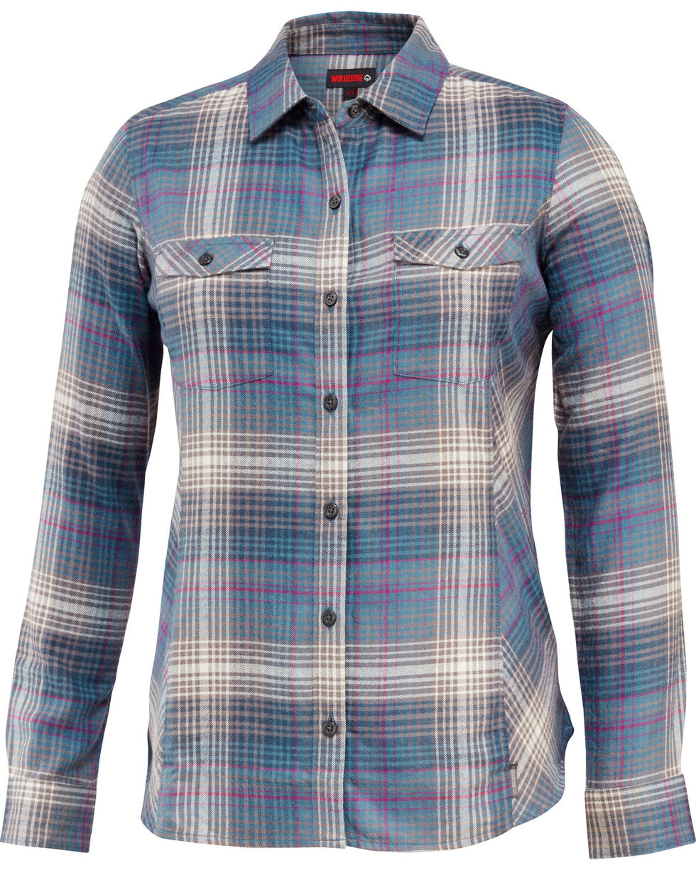 Wolverine Women's Autumn Long Sleeve Flannel Shirt, Dark Grey, hi-res
