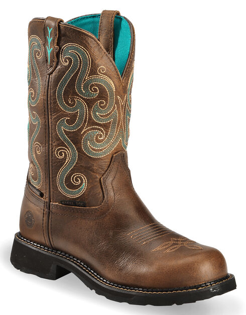 Justin Gypsy Swirling Stitch Cowgirl Waterproof Work Boots - Steel Toe, Chocolate, hi-res