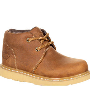 Georgia Youth Boys' Brown Chukka Wedge Boots - Round Toe , Brown, hi-res