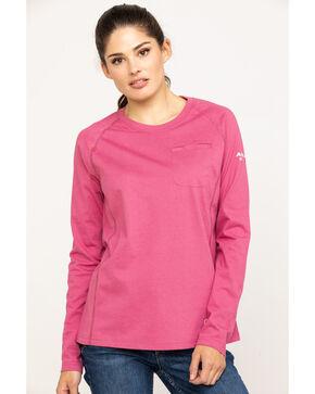 Ariat Women's Rose Violet FR Air Crew Long Sleeve Work Shirt, Pink, hi-res