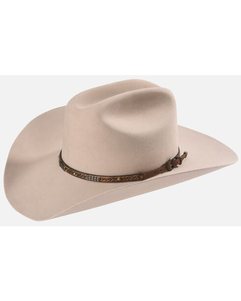 Phunky Horse Stitched Leather Hat Band , Lt Brown, hi-res