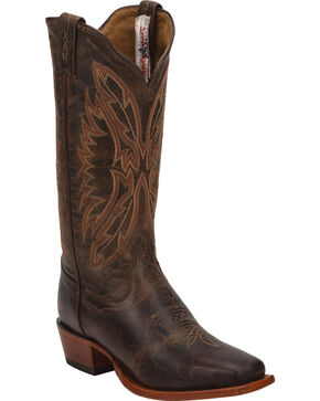 Tony Lama Chocolate Saigets Cowgirl Boots - Square Toe, Brown, hi-res