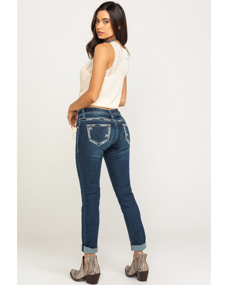Grace in LA Women's Dark Wash Simple Skinny Jeans, Blue, hi-res