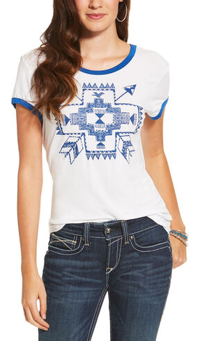 Ariat Women's White Short Sleeve Arrow Top, White, hi-res