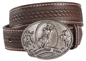 Cody James Boys' Basketweave Rodeo Buckle Belt, Brown, hi-res