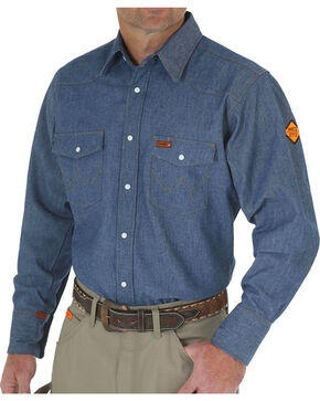 Wrangler Flame Resistant Western Work Shirt - Tall, Blue, hi-res