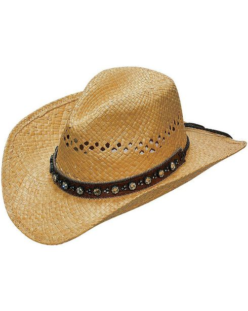 Blazin Roxx Flower Rhinestones Hat Band Raffia Straw Cowgirl Hat, Natural, hi-res