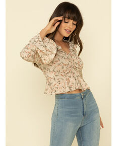 Very J Women's Floral Print Ruffle Bell Sleeve Peasant Top , Ivory, hi-res
