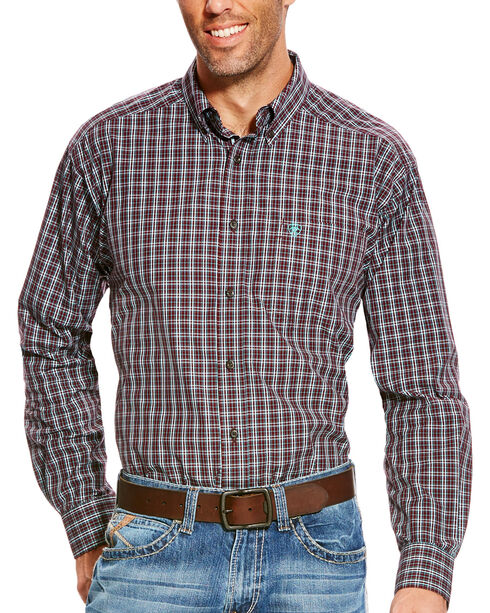 Ariat Men's Pro Series Aubrey Performance Long Sleeve Button Down Shirt - Big & Tall, Wine, hi-res