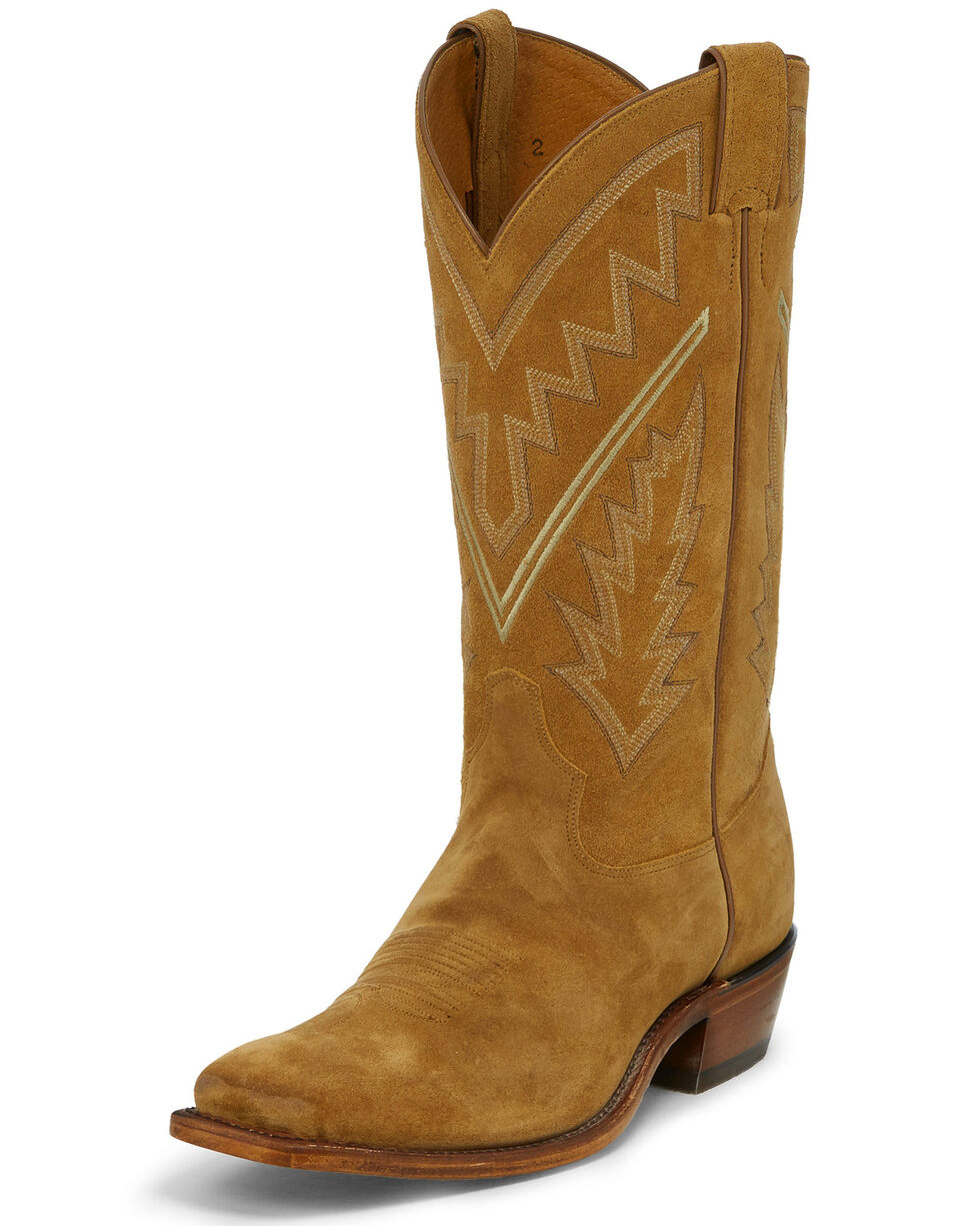 Tony Lama Men's Bingham Suede Western Boots - Square Toe, Tan, hi-res
