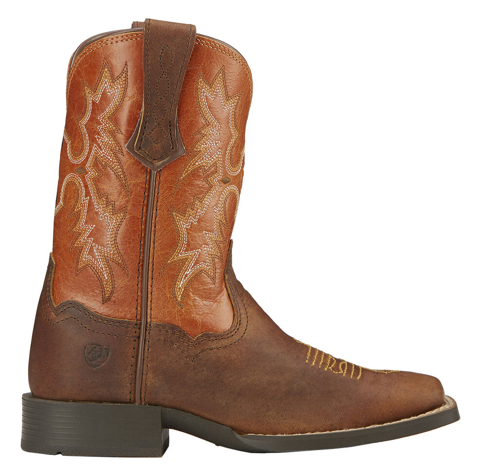 Ariat Youth Boys' Tombstone Cowboy Boots - Square Toe, Brown, hi-res