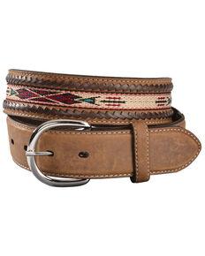 Tony Lama Men's Woven Leather Lace Belt, Bark, hi-res